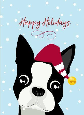 Boston Terrier Holiday Christmas Greeting Note Card - Set of 14 With Envelopes Boston Terrier Christmas Cards