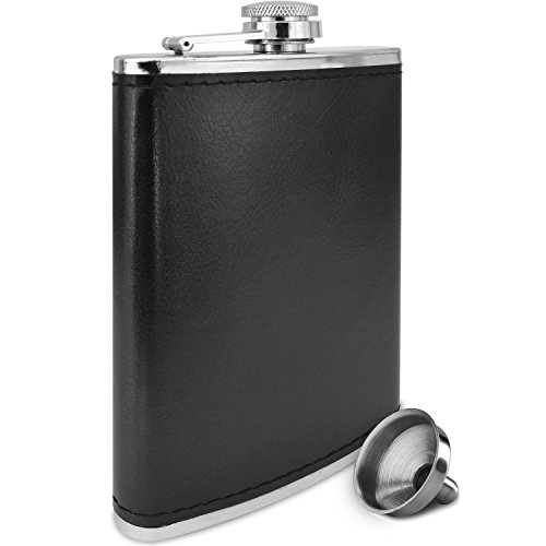 Premium-8-Oz-Black-Soft-Touch-Leather-Wrap-Outdoor-Adventure-Leak-Proof-Flask-304-Stainless-Steel-Liquor-Hip-Flask-by-Future-Hydrate-Includes-Free-Bonus-Funnel-Black-Faux-Leather-Wrap-8oz