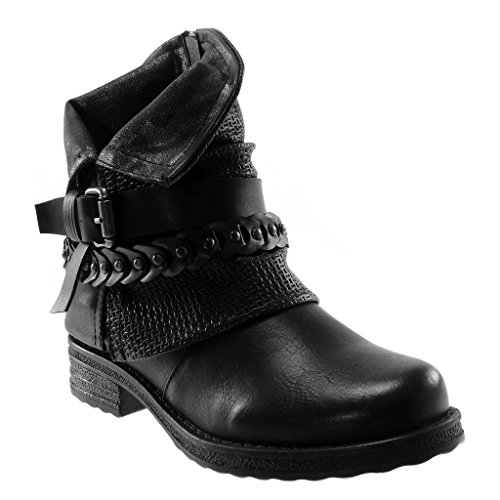 Classic Women's Block Braided Heel 3 Buckle Boots Shoes Biker Booty Fashion Angkorly 5 Black cm Thong Ankle 0PxqfKd