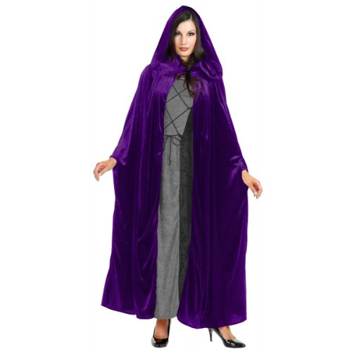 Black Hooded Panne Cloak (Panne Velvet Hooded Cloak Costume Accessory - One Size - Chest Size 40-44)