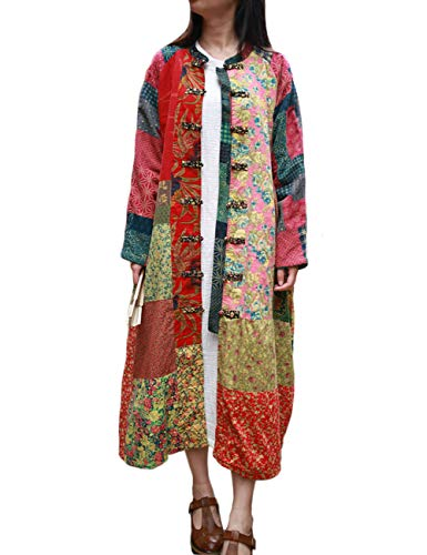 LZJN Women's Trench Coat Floral Print Jacket Chinese Style Outwear - Trench Womens Floral Coat
