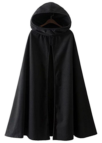 Hooded Cloaks (Kearia Womens Casual Hooded Split Front Poncho Cape Cloak Trench Coat Outwear (XXLarge, Black))