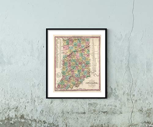 Map World Atlas, Indiana. 1841 Historic Antique Vintage Reprint Size: 20x24 Ready to ()
