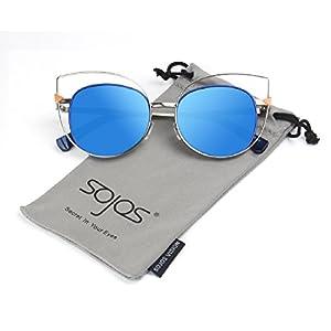 SojoS Vision Womens Stylish Flash Mirror Lenses Metal Frame Round Cat Eye Sunglasses SJ1031 With Silver Frame/Blue Lens