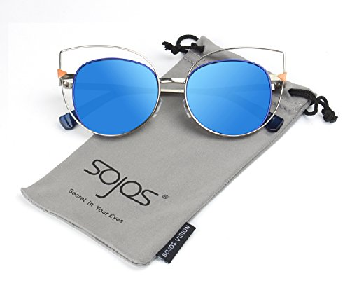 SojoS Vision Womens Stylish Flash Mirror Lenses Metal Frame Round Cat Eye Sunglasses SJ1031 With Silver Frame/Blue - Sunglasses Latest Branded