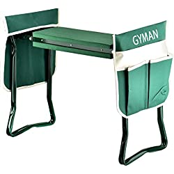 Garden Kneeler Seat,GYMAN Sturdy and Lightweight Garden Folding Bench Stool with EVA Kneeling Pad and Tool Pouch