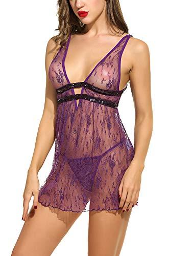 Lingerie Sheer Babydoll Chemises V Neck Mesh Sleepwear Purple S ()