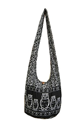 BTP! Owl Hippie Boho Sling Cross body Bag Shoulder Messenger Purse Large (Black OF11)