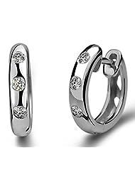 Richy-Glory - S925 Silver CZ Crystal Hoop Earring