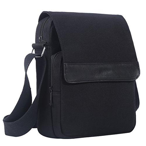 - Eshow Men's Casual Canvas Flapover Crossbody Shoulder Bag Messenger Traval Business Bag School Bookbag Daypack Bag,Black
