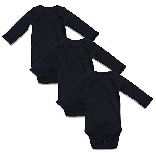 (ROMPERINBOX Solid Black Long Sleeve Baby Bodysuits 3 Pack (9-12M, Black L 3 Pack))