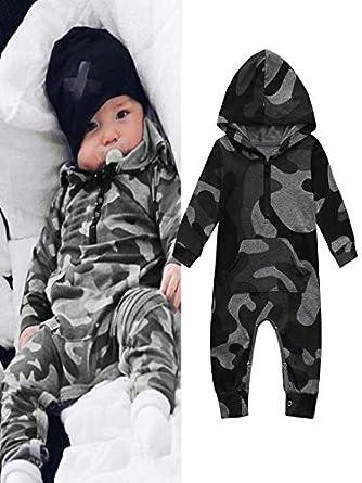Ensemble de v/êtements pour b/éb/é IMJONO Fashion Boys Girls Camouflage Print Combinaison /à Capuchon