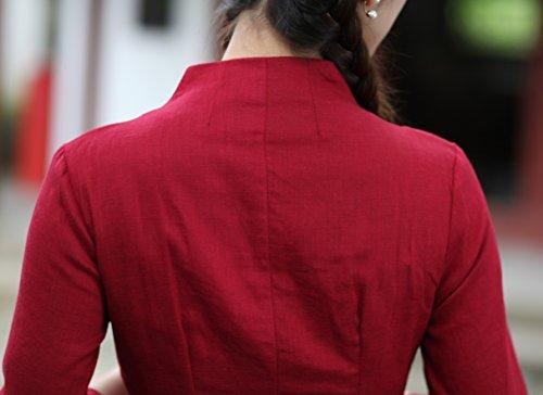 Yue Lian Damen Lang Bluse Lotus Muster Rot Etuikleid Chinesisch Knöpfe Cheongsam