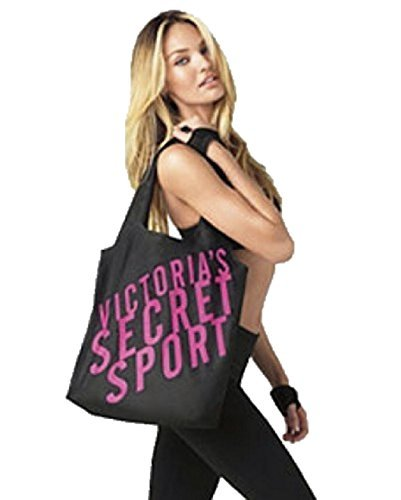 Victoria's Secret VSX Sport Black Tote Travel Gym Yoga Nylon Light Weight Bag with Elastic Hair Ties by Victoria's Secret by Victoria's Secret
