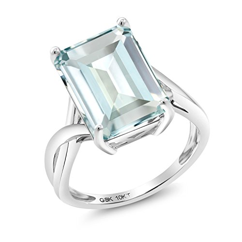 Gem Stone King 6.64 Ct Octagon Sky Blue Simulated Aquamarine 10K White Gold Ring (Size 5)
