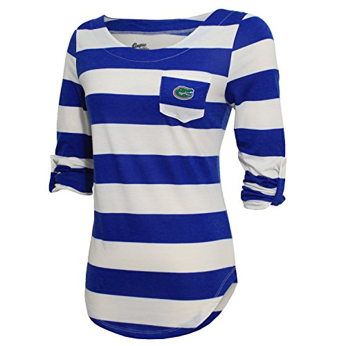 NCAA Florida Gators Women's Campus Specialties Striped 3/4 Sleeve Tee, Royal/White, XX-Large ()