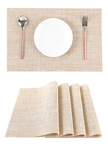 LILYKING Placemats for Dining Table, Heat-Resistant Placemats, Stain Resistant Washable Table Mats, Woven Textilene Non-Slip Insulation Placemat, Set of 4 (Beige) (Placemats Beige)