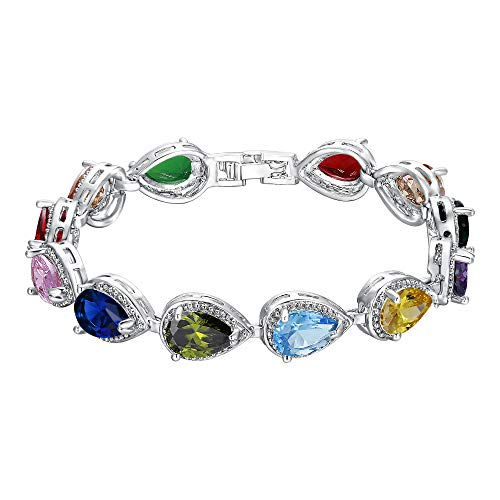 EVER FAITH Women's Prong CZ December Birthstone Teardrop Party Tennis Bracelet Multicolor Silver-Tone