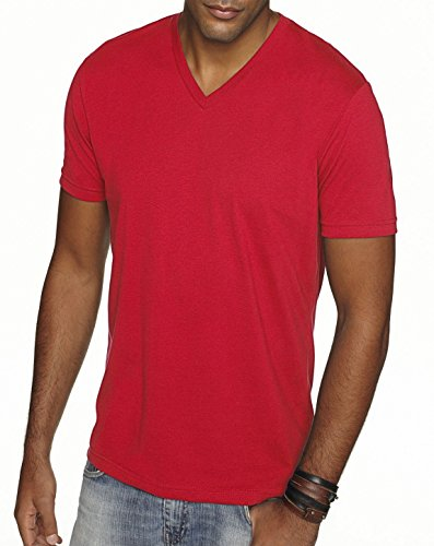 Next Level 6440 Premium Fitted Sueded V-Neck Tee Red Small