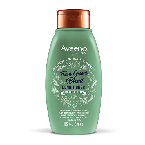 Aveeno Scalp Soothing Fresh Greens Blend Conditioner for Volume, Thickness and Refresh, Sulfate Free Conditioner, No Dyes or Parabens, 12 fl. oz