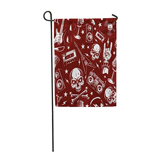 Semtomn Garden Flag 28x40 Inches Print On Two Side Polyester Red Band Skulls Black Bone Death Drawing Home Yard Farm Fade Resistant Outdoor House Decor -