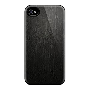 New Leather Black Tpu Skin Case Compatible With Iphone 4/4s
