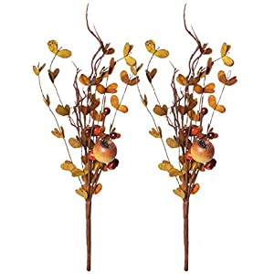 Red Co. Artificial Mixed Fall Floral Pick, Decorative Faux Flower Arrangements for Home & Garden Décor, Set of 2, 11 inches 15