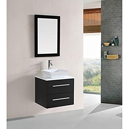Belvedere Designs T9189 Modern Floating Single Vessel Sink Bathroom Vanity  Set, 24u0026quot;, Espresso