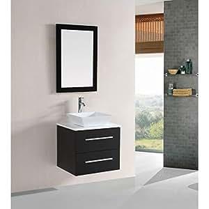 belvedere designs t9189 modern floating single vessel sink bathroom vanity set 24 espresso. Black Bedroom Furniture Sets. Home Design Ideas