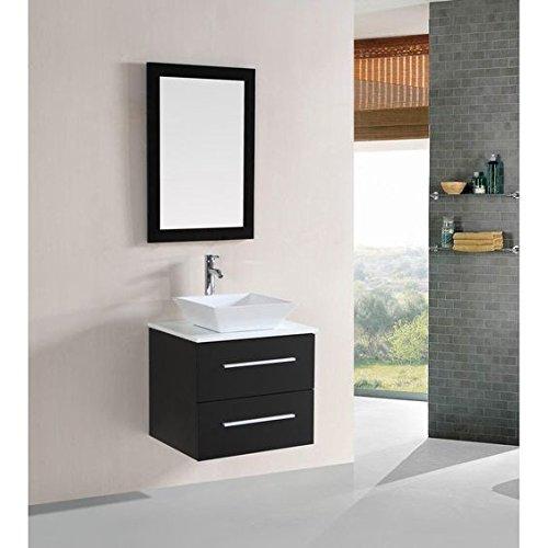 . Belvedere Designs T9189 Modern Floating Single Vessel Sink Bathroom Vanity  Set  24   Espresso