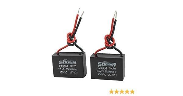 2 piezas de CA 450V 2.5uF 5% 50 / 60Hz ventilador eléctrico ...