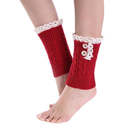 Chaussettes Rouge Acvip Guêtre Jambe Boutons Femme Dentelle Pour Tricotées Courte dwOzP