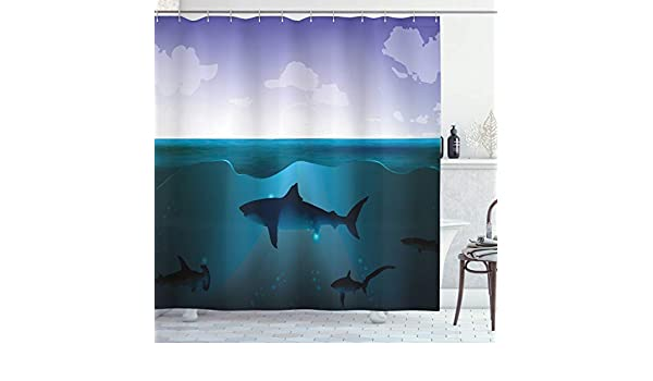 Shark Shower Curtain Swimming Wild Fishes Print for Bathroom