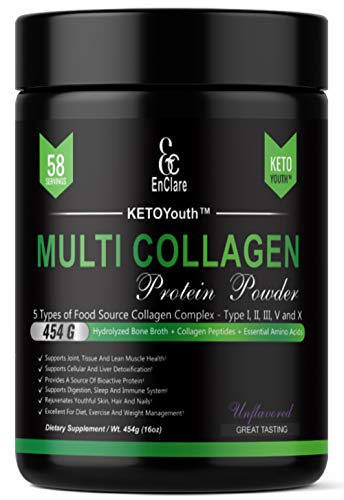 Multi Collagen Peptides Protein Powder - Keto Collagen - KETOYouth GrassFed Type I, II, II, V & X | Paleo, Keto Diet, Low Carb AntiAging, Joint, Bone, Skin, Hair, Nails, Digestion - Unflavored Non GMO