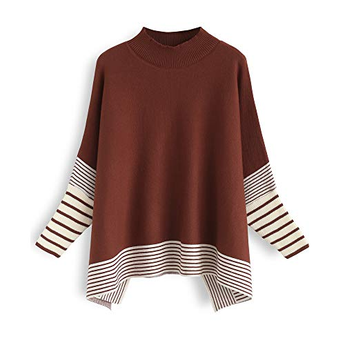 Chicwish Women's Caramel Striped Oversize Soft Knit Cape Sweater Pullover, Size Large~XLarge