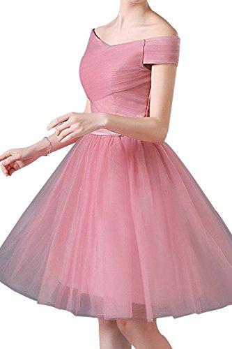 La_mia Brau Knielang Tuell Cocktailkleider Abendkleider Ballkleider Partykleider Kurz A-linie Tanzenkleider Festlichkleider Dunkel Rosa E3SO1Yf