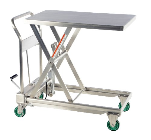 Vestil-CART-550-SS-Hydraulic-Scissor-Lift-Cart-Stainless-Steel-550-lb-Capacity-31-12-x-19-12-Platform-9-34-to-33-12-Service-Range