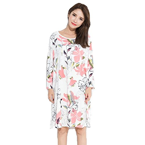 dca538c232 Pijama De Algodón De Primavera Y Otoño Del Camisón De Manga Larga Vestido