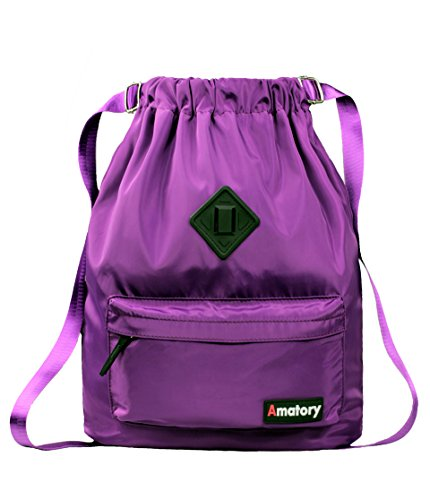Gym Drawstring Backpack Bags String Sackpack Waterproof Gymsack School Cinch Sack Men Women (Purple)