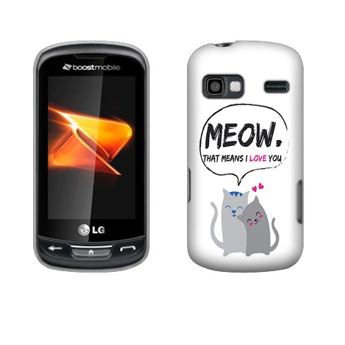 Fincibo (TM) LG Rumor Reflex LN272 Xpression C395 Protector Hard Plastic Snap On Cover Case - Cat Love, Front And Back