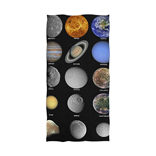 LORVIES Educational Solar System Bath Towel Quick Drying Beach Towel for Home Bathroom Pool and Gym 32 X 64 Inches by LORVIES