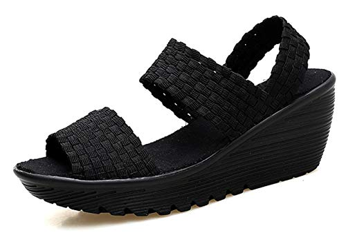 Womens Wedge Platform Sandals Elastic Open Toe Slingback Woven Walking Shoes Black US8 EU39