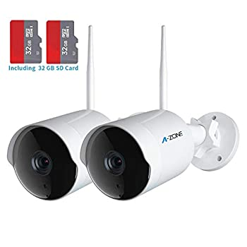 Image of Home Improvements Outdoor Security Camera - HD 2K 3MP Bullet Camera 2.4G IP66 Waterproof 50ft Night Vision Home Surveillance IP Camera Two-Way Audio, Motion Detection Alarm/Recording, Set of 2(with 64GB SD Card)