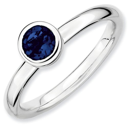 Sterling Silver Stackable Expressions Low Bezel Set Round Cut 5mm Created Sapphire Ring - Size 10 from Stackable Expressions