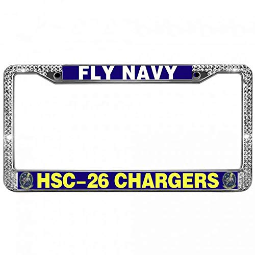 - Hanmen Tye Clear Crystal Rhinestone USN Naval Aviation License Plate Zinc Frame,HSC-26 Chargers Fly Navy License Plate Frame Shiny,Waterproof Stainless Steel Car Licenses Plate Frame