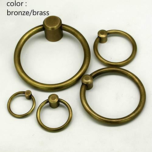 Dia 5 6 8 CM Vintage Brass Cabinet Drawer Handle Soild Ring Bronze Antique Kitchen Pulls Handles Furniture Knobs Hardware - (Color: 8cm Brass)