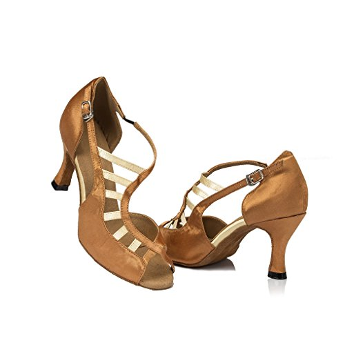 inch Party Sandals Women's Heels Wedding Satin Shoes Dance Evening 3 Stylish Miyoopark Brown Latin a64xYta