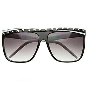 zeroUV - Celebrity Studded Party Rock Clubbing Neon 80s Retro Horn Rimmed Sunglasses (Black-White)