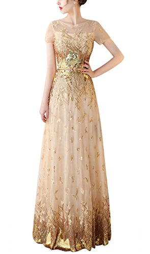 Fanhao Women's Short Sleeves Shining Sequins With Belt Long Evening Formal Dress