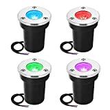 ZUCKEO RGB LED Landscape Lights 3W Low Voltage Lights Indoor Outdoor Multi-Color Changing Flashing Decorative Spotlights for Party Stage, Flood, Patio,Yard, Garden, Pathway (4 Pack)